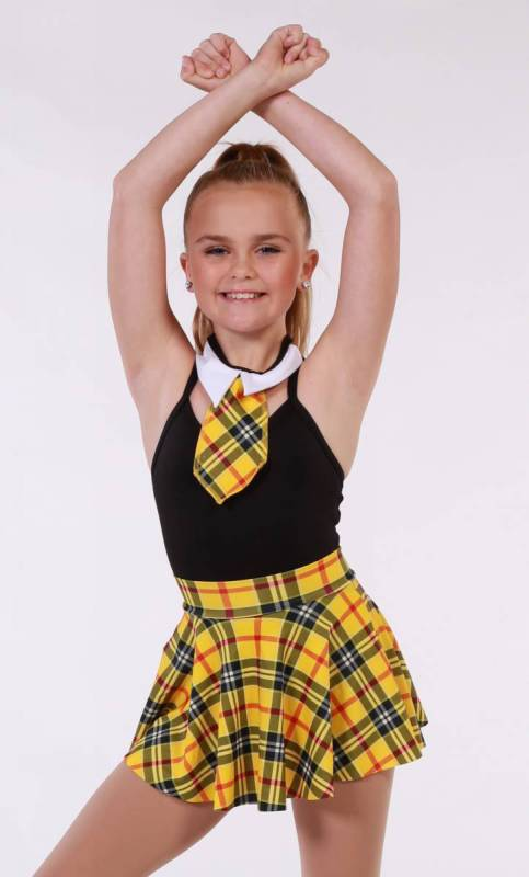 SCHOOL SKIRT COLLAR AND TIE  - Yellow Tartan