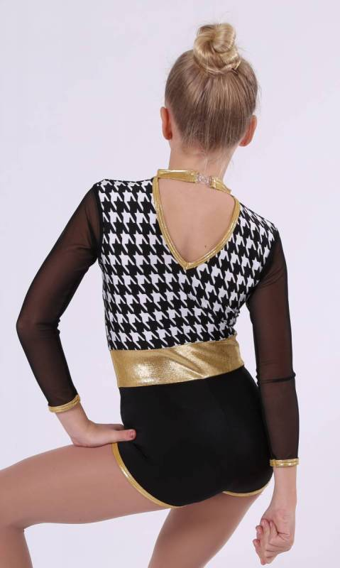 DEE JAY SPIN  - Black and White houndstooth and Gold