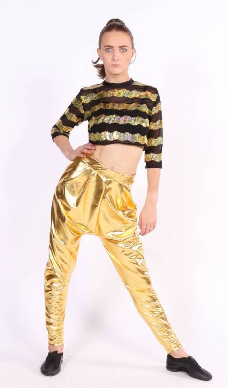 ZIG ZAG Sequin Mesh Crop top - Black and Gold