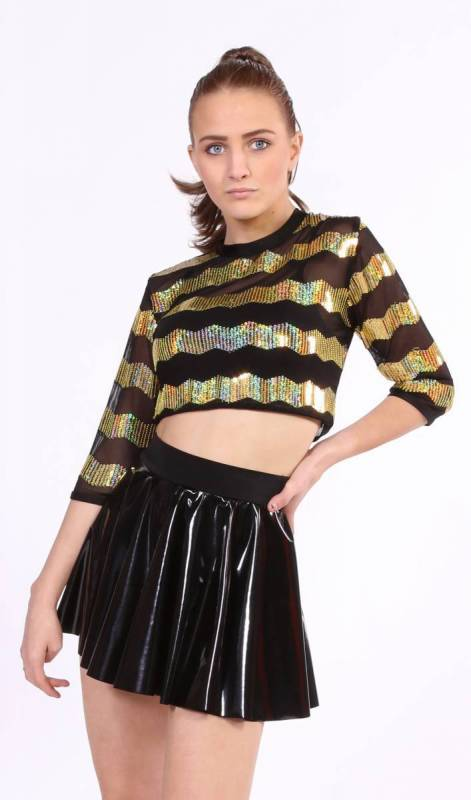 ZIG ZAG Sequin Mesh Crop top Dance Costume