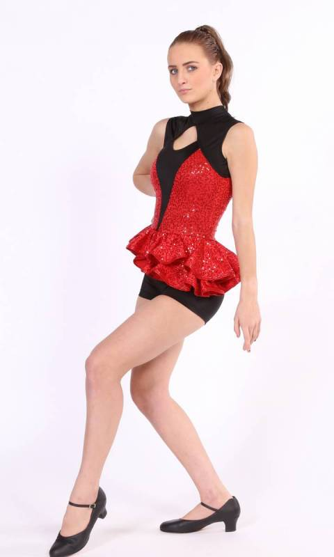 IN MY BLOOD  - Red zsa zsa sequin spandex and black