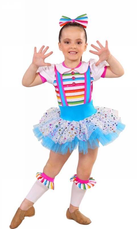 FUNKY DOLL + ankle bits and 2 hair bows - Rainbow, Blue and Silver