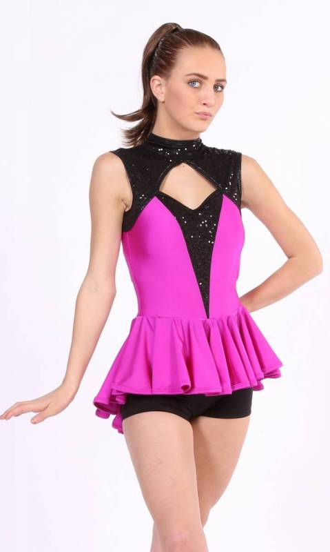 HOOK ME UP  - Fuschia lycra and black Zsa zsa sequin spandex