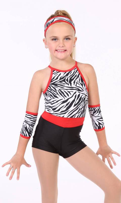 Halter Shortard  - Black and White Zebra  Black shorts and with red trim