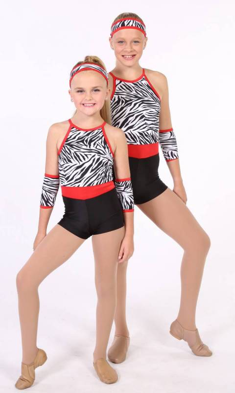 Black and White Zebra Black shorts and with red trim