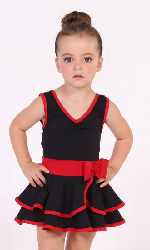 Rosey Posey Leo Dress  - Black and Scarlet supplex