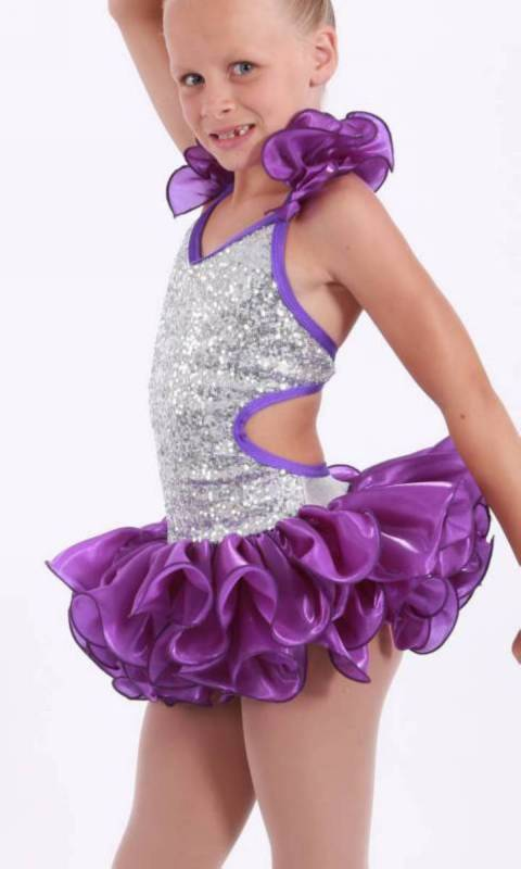 SHAKIRA - salsa costume  - Silver Sequin mesh and purple organza