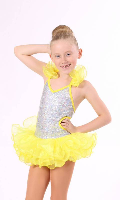 SHAKIRA - salsa costume  - Silver and Yellow