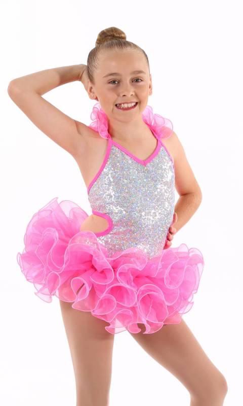 SHAKIRA - salsa costume  - Silver and neon pink