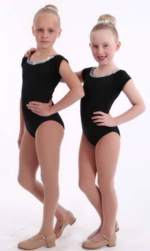 RAGLAN LEOTARD WITH SEQUINS  - Black nylon lycra and silver sequins