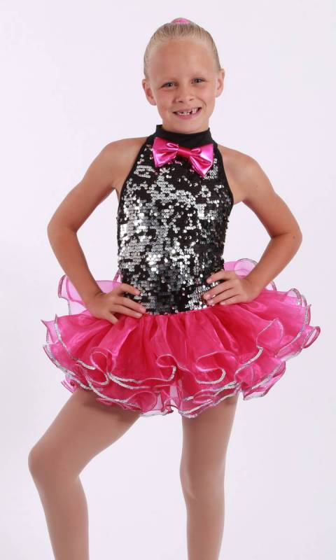 Entertainer  - Black and silver sequin with fuschia organza and silver sequins