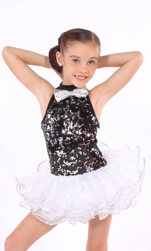 Entertainer  - WHITE - with black and silver sequin