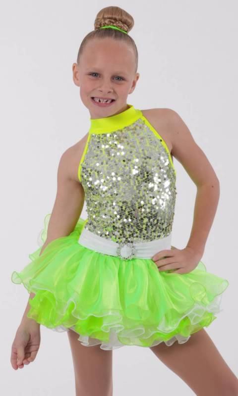 NEON LIGHTS - Neon Green  silver sequin mesh and organza