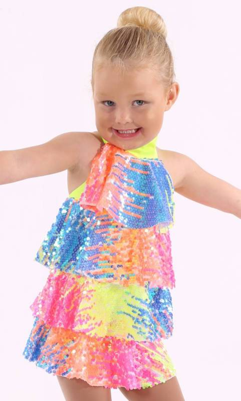 SODA POP  - Multi-coloured sequin layer dress with built in shortard