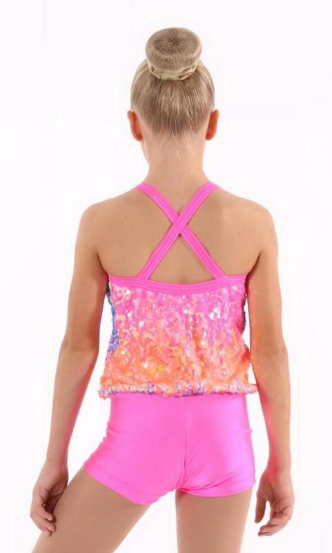 POP IN CANDY SHORTARD  - Pink and Neon pop sequins