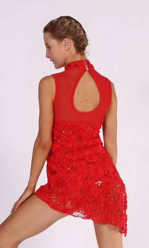 MISS SAIGON - KCDC  - Textured mesh assymetrical dress with built in leotard