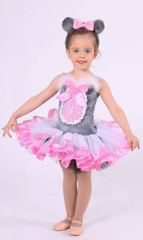 MOUSE TUTU  - Grey Velvet White and Pink trim