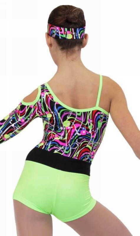 DANCE PARTY - KCDC  -  Printed and plain lycra assymetrical shortard