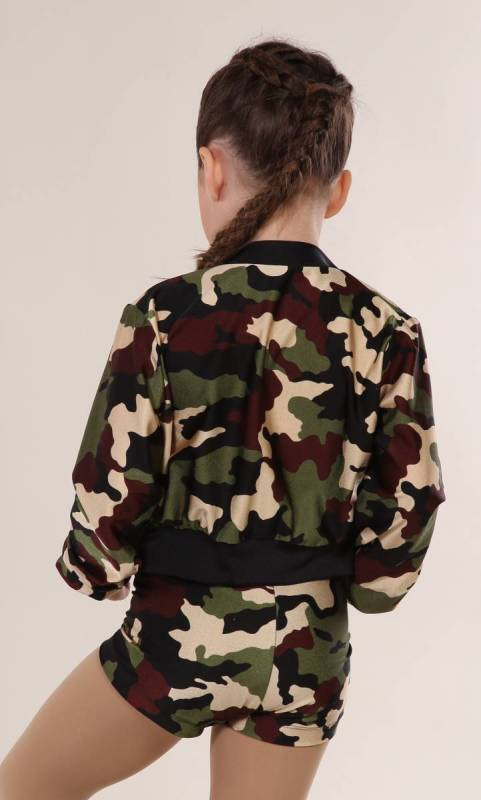 ZIP CROP JACKET - lycra prints - Camo MATT Print