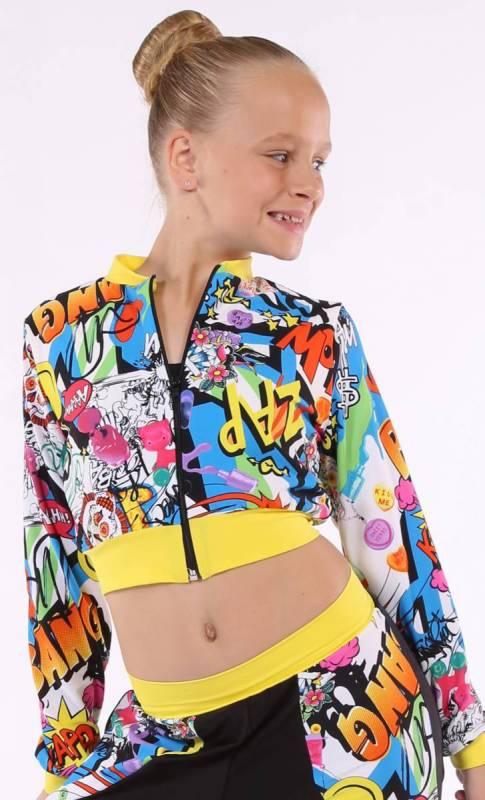 ZIP CROP JACKET - lycra prints Dance Costume