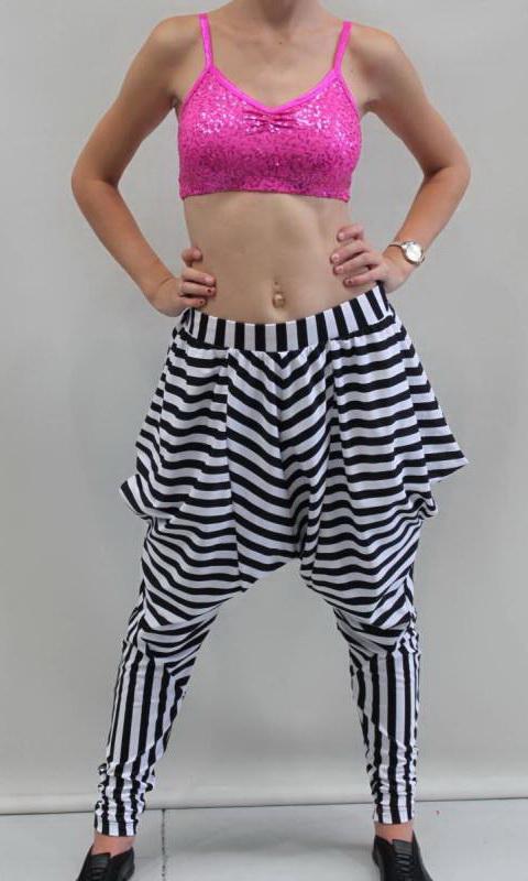 Zebra Pants - Convertible - Black + White striped Nylon + 5cm White Elastic