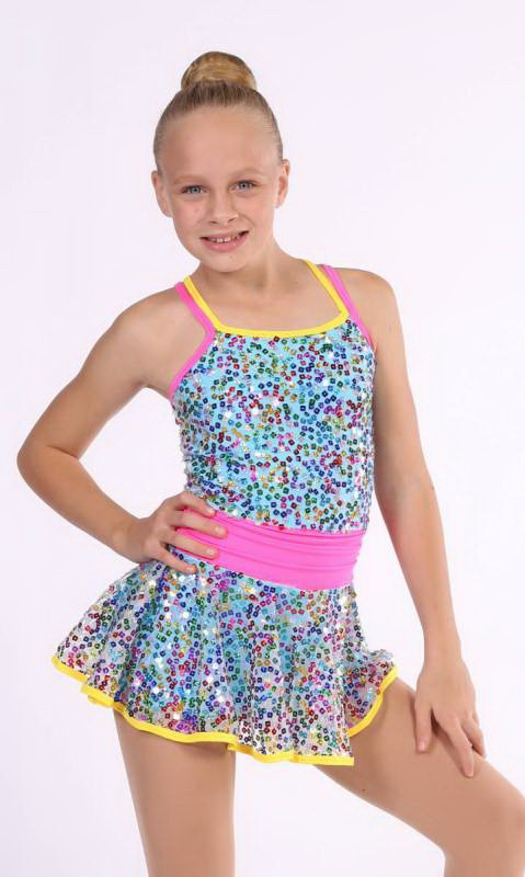HIP HOORAY  - Aqua and White Sequin Mesh with yellow and pink