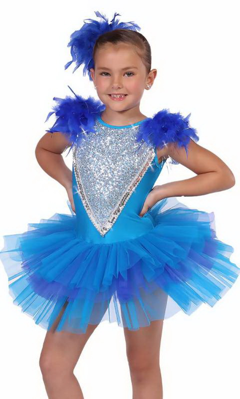 Aqua and Blue with silver sequins and royal blue feathers