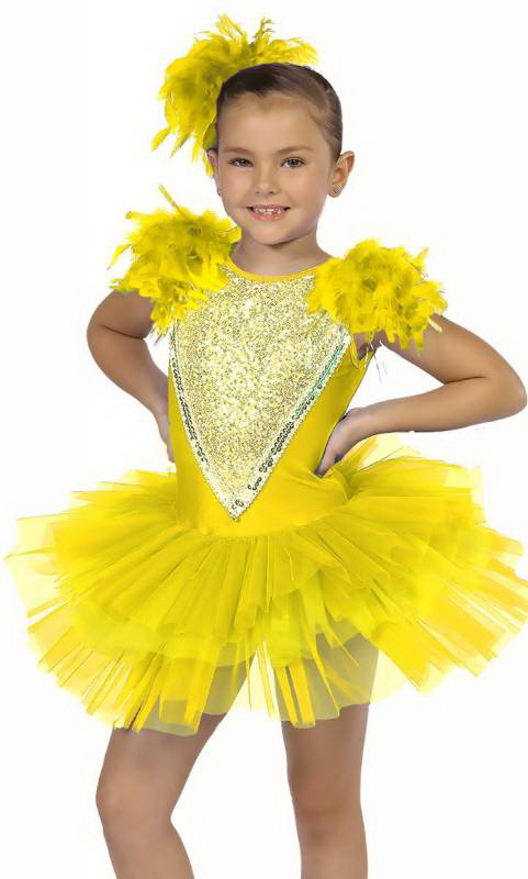 LITTLE BIRD - Yellow and Golden yellow with silver sequins and yellow feathers
