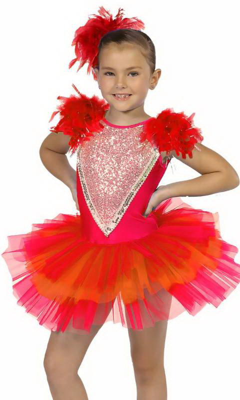 LITTLE BIRD - Red and Orange with silver sequings and red feathers