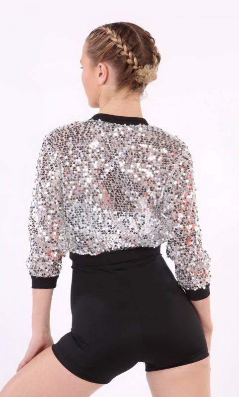 SEQUIN MESH JACKET  - Silver sequin and Black