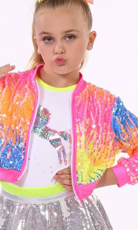 SEQUIN ZIP UP JACKET - ONLY - Yellow Pink Orange Blue Spandex