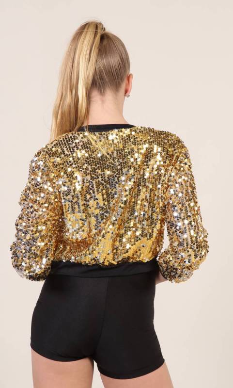 SEQUIN ZIP UP JACKET - ONLY - GOLD and black trim