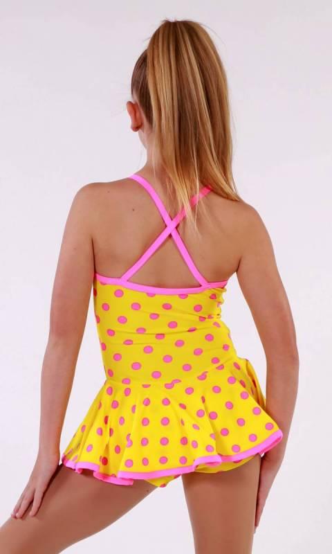 SKATER DRESS - spandex prints - YELLOW WITH PINK POLKA DOT