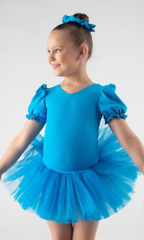 BABY TUTU SKIRT  - Electric Blue pictured with puff sleeve leotard