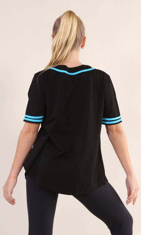 BASEBALL TOP  - Black + AQUA 1949 200 xiang