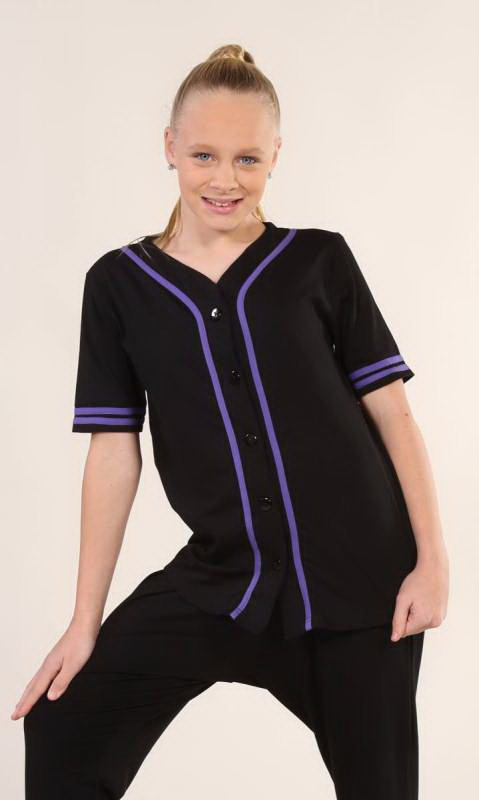 BASEBALL TOP  - Black + PURPLE - 23 (cotton lycra 165gsm)