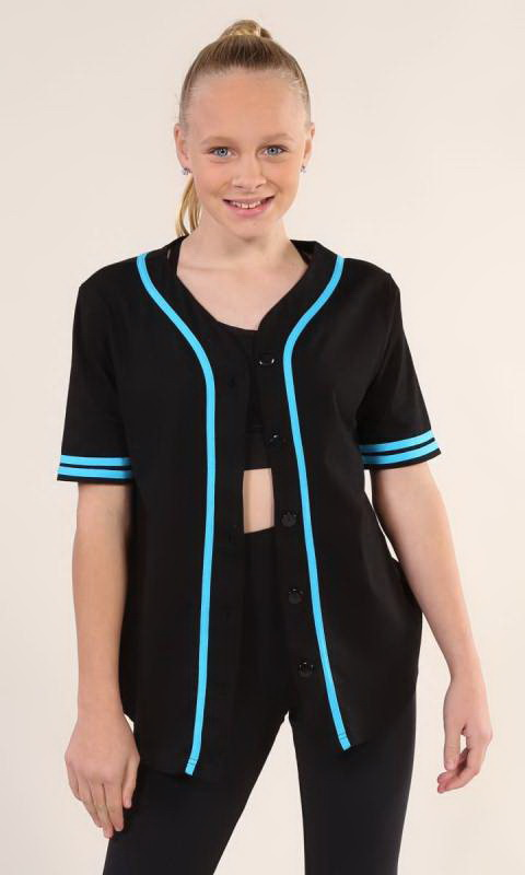 BASEBALL TOP  - Black + AQUA  1949 129 xiang