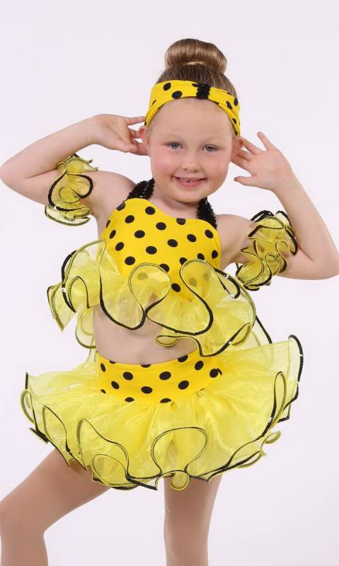 YELLOW DOT BIKINI Dance Costume
