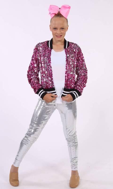 BOOMERANG JACKET  - Pink/Silver sequin + white lining + black/white banding