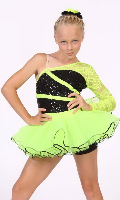 BREAK FREE  - Black sequin mesh and Neon Yellow trim and skirt
