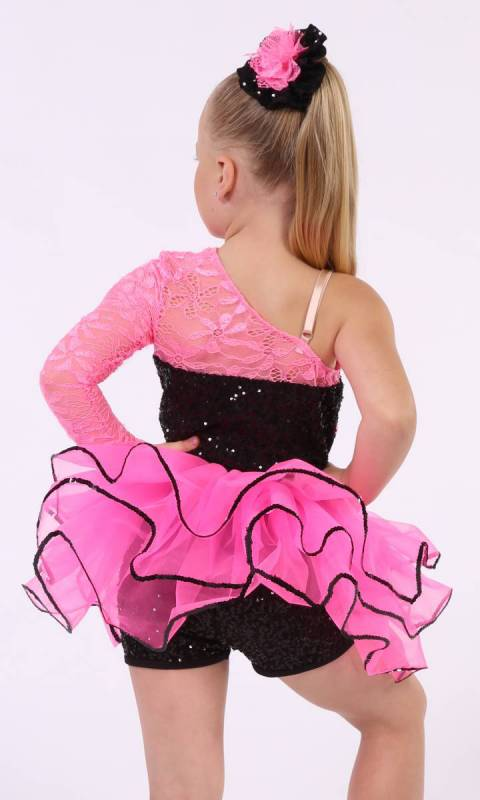 BREAK FREE  - Black sequin mesh and Neon Pink trim and separate skirt