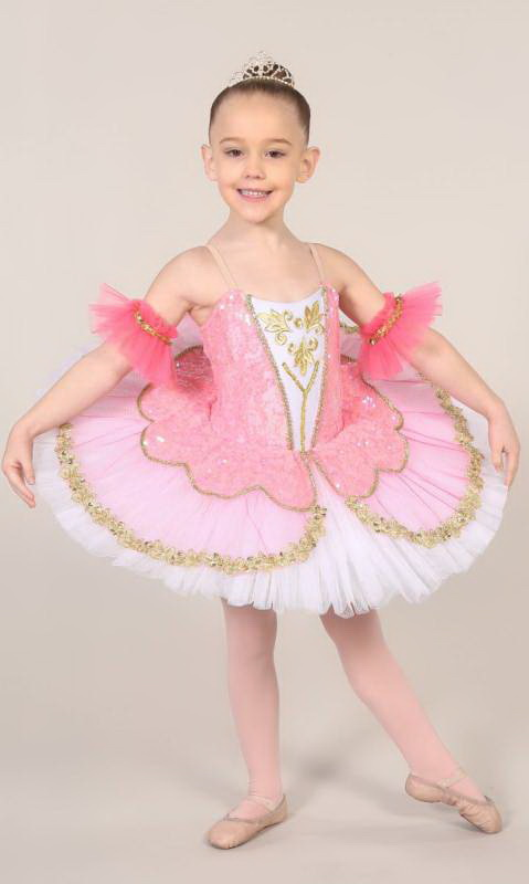 TILLEEYA - tutu - White Rose Pink and gold
