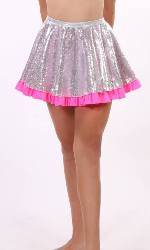 SEQUIN SPANDEX SKIRT  - Silver and Pink