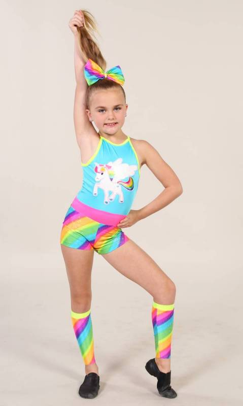 UNICORN shortard + accessories  - Rainbow print spandex with white and yellow