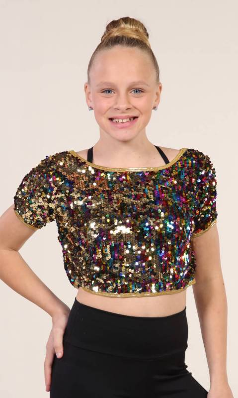 CHANGING COLOURS CROP  - Multi colour and gold  sequin
