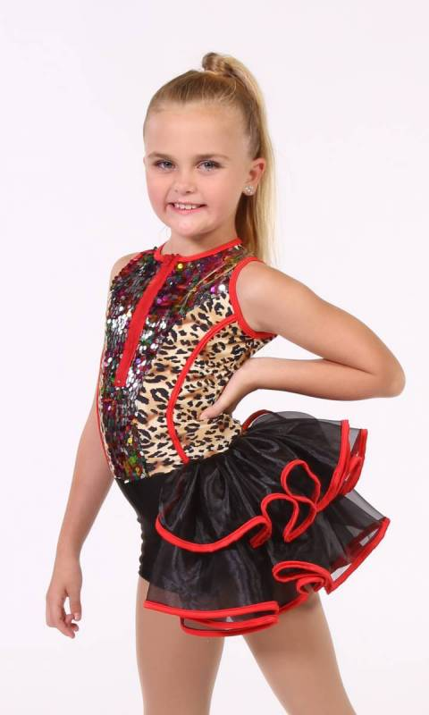 WILD PARTY  - Leopard print,  black and red trim