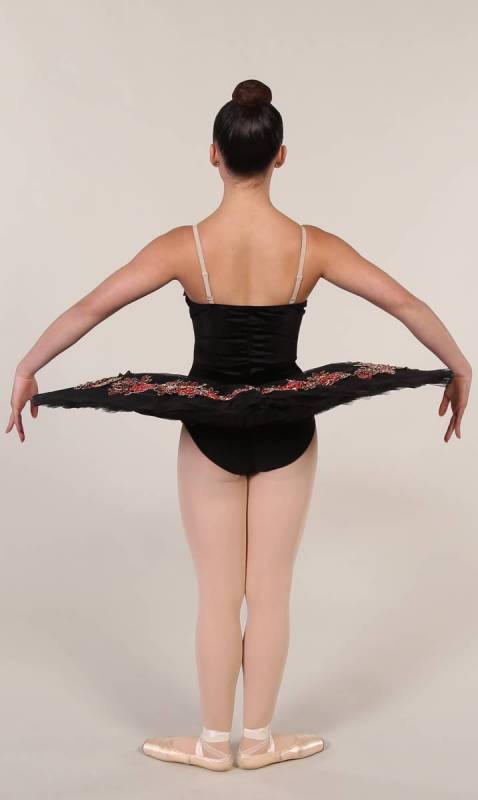 VALENTINA - Pancake tutu  - Black with Red and gold applique