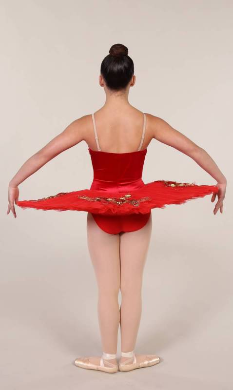 RAMONA - PANCAKE TUTU  - RED VELVET and tulle with gold applique