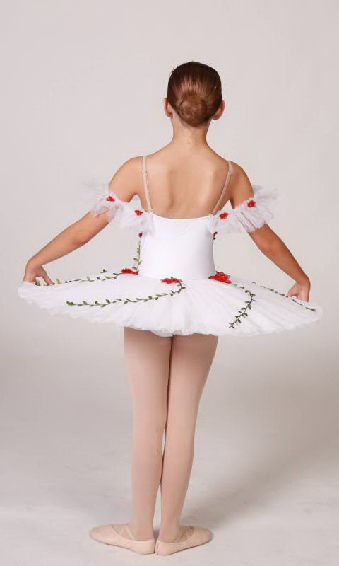 ROSANNA - PANCAKE TUTU  - White with Red and Green applique flowers