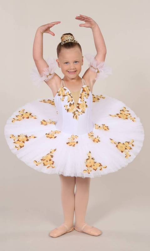 CAMILLA - pancake tutu  - White with gold and yellow applique